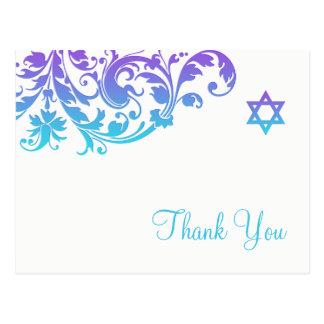 Elegant Purple Teal Flourish Bat Mitzvah Thank You Postcard