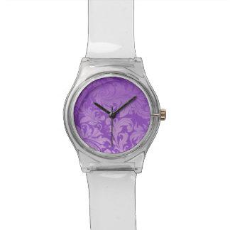 elegant, purple ,vintage, floral ,damask,beautiful watch