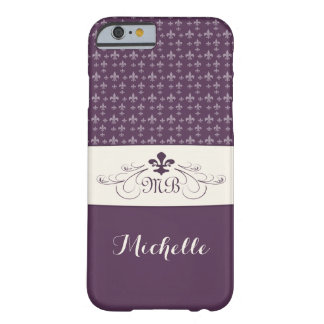 Elegant Purple White Fleur de Lis Barely There iPhone 6 Case