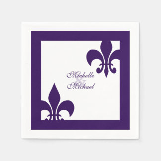 Elegant Purple White Fleur de Lis Wedding Disposable Napkins