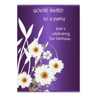 "Elegant Purple White Floral Birthday Party 5"" X 7"" Invitation Card"