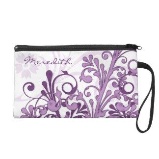 Elegant Purple White Floral Personalized Wristlet