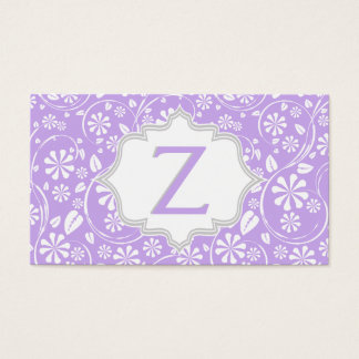 Elegant purple white, grey floral pattern monogram business card
