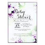 "Elegant Purple & White Lilies on Soft Green 5"" X 7"" Invitation Card"