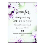 "Elegant Purple & White Lilies on Soft Green 5"" X 7"" Invitation Card"