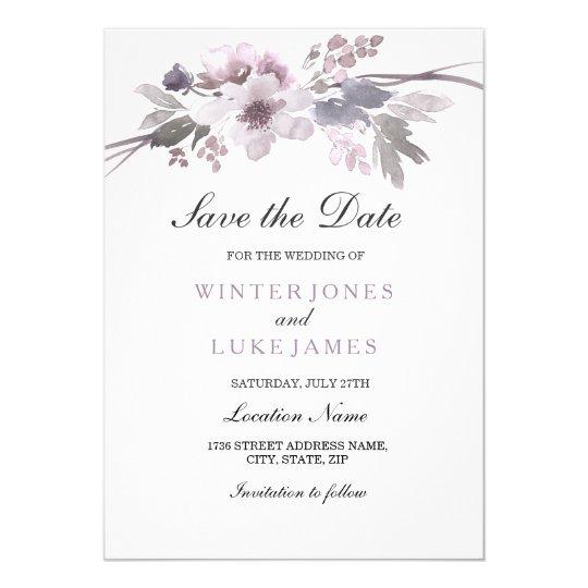 Elegant Purple Winter Floral Save the date Invite