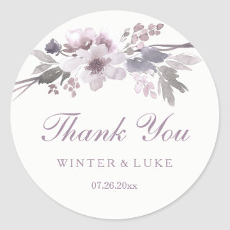 Elegant Purple Winter Floral Wedding Thank You Classic Round Sticker