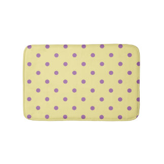 elegant purple yellow polka dots bath mat