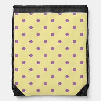 elegant purple yellow polka dots drawstring bag