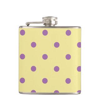 elegant purple yellow polka dots hip flask