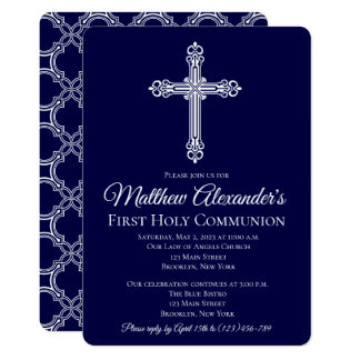 Elegant Quatrefoil Cross Communion Invitation