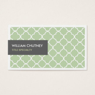 Elegant Quatrefoil Pattern in Chic Lime Green Business Card