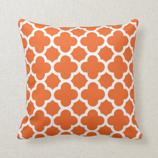 Elegant Quatrefoil Pattern in Orange and White Throw Pillow
