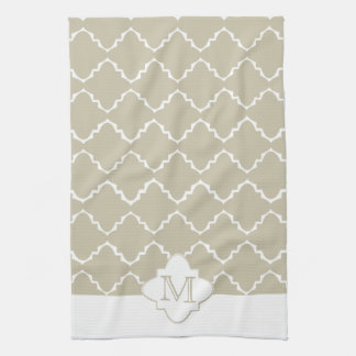 Elegant Quatrefoil Pattern - Latte White Towel