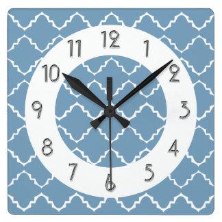 Elegant Quatrefoil Pattern - Lt Blue White Clocks
