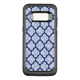 Elegant Quatrefoil Pattern & Powder Blue Damasks OtterBox Commuter Samsung Galaxy S8 Case