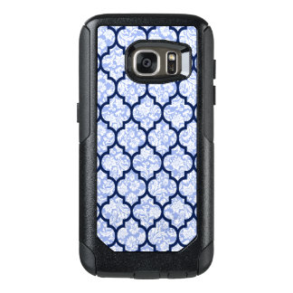 Elegant Quatrefoil Pattern & Powder Blue Damasks OtterBox Samsung Galaxy S7 Case