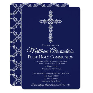Elegant Quatrfoil Cross First Communion Invitation