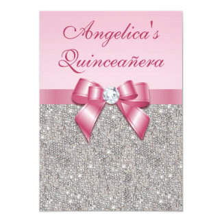 "Elegant Quinceañera Faux Silver Sequins Pink Bow 5"" X 7"" Invitation Card"