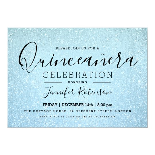 Elegant Quinceanera Party Blue Glitter Look Paint Card