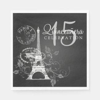 Elegant Quinceanera Party Paris Black Paper Napkin