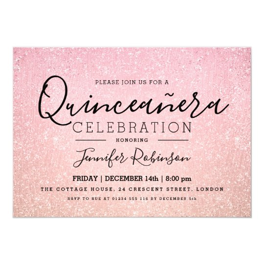 Elegant Quinceanera Party Rose Pink Glitter Paint Card