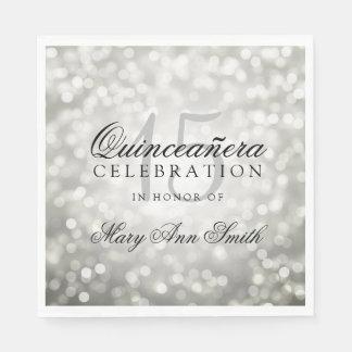 Elegant Quinceanera Party Silver Bokeh Lights Paper Napkins