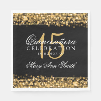 Elegant Quinceanera Party Sparkles Gold Paper Napkin
