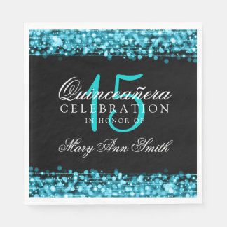 Elegant Quinceanera Party Sparkles Turquoise Paper Napkin