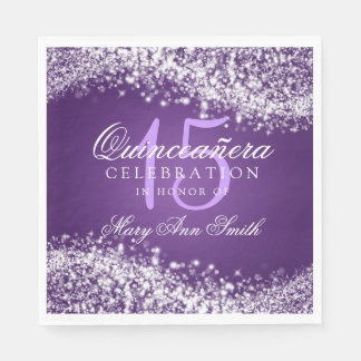 Elegant Quinceanera Party Sparkling Wave Purple Paper Napkins