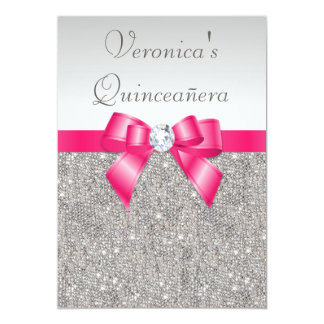"Elegant Quinceañera Silver Sequins Hot Pink Bow 5"" X 7"" Invitation Card"