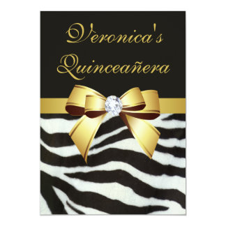 "Elegant Quinceañera Zebra Stripes Gold Faux Bow 5"" X 7"" Invitation Card"