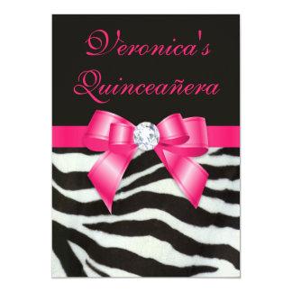 "Elegant Quinceañera Zebra Stripes Hot Pink Bow 5"" X 7"" Invitation Card"
