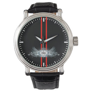 Elegant Racing Stripes Personalized Men's Watch