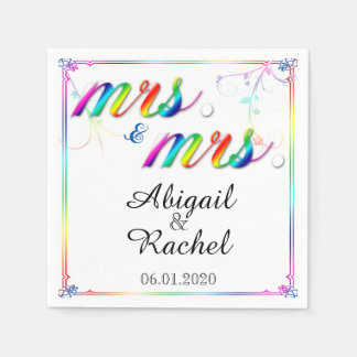 Elegant Rainbow Floral Mrs Wedding Napkin Paper Napkins