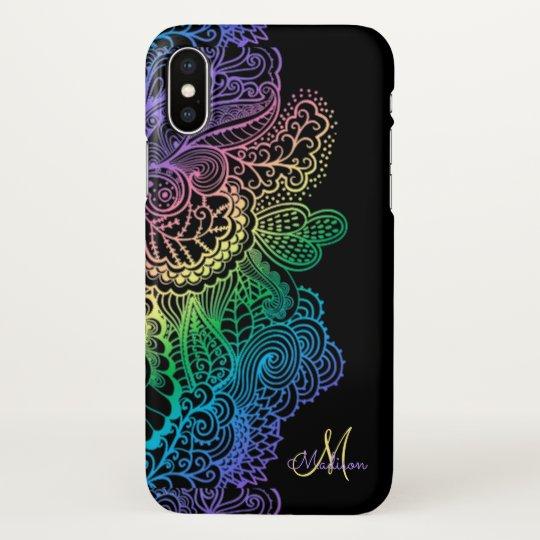 Elegant Rainbow Lace Monogram Black iPhone X Case