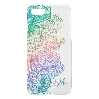 Elegant Rainbow Lace Monogram White iPhone 7 Case