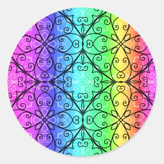 Elegant rainbow scrollwork classic round sticker