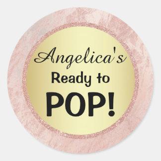 Elegant Ready to Pop Baby Shower Gold Pink Glitter Classic Round Sticker