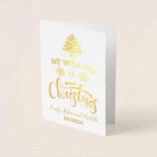 Elegant Real Foil Merry Christmas Custom Monogram Foil Card