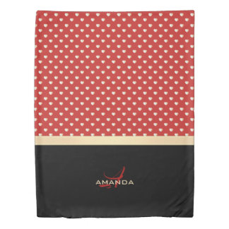 Elegant Red and Black, Golden Hearts Name Monogram Duvet Cover