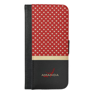 Elegant Red and Black, Golden Hearts Name Monogram iPhone 6/6s Plus Wallet Case