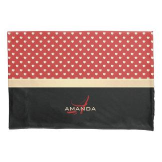 Elegant Red and Black, Golden Hearts Name Monogram Pillowcase