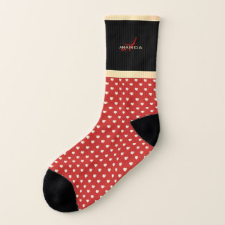 Elegant Red and Black, Golden Hearts Name Monogram Socks