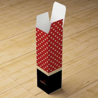 Elegant Red and Black, Golden Hearts Name Monogram Wine Gift Box