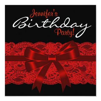 Elegant Red and Black Lace Birthday Party Card