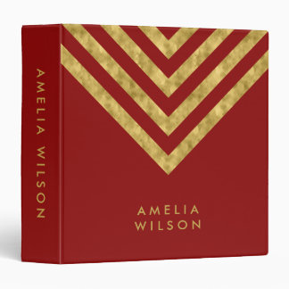 Elegant Red and Faux Gold Chevron Name Binders