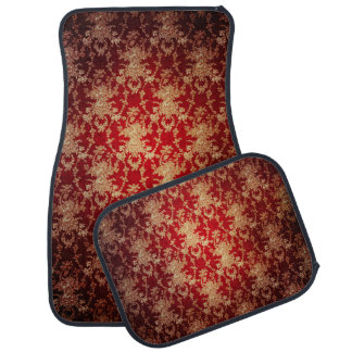 Elegant Red and Gold Floral Damask Car Mat