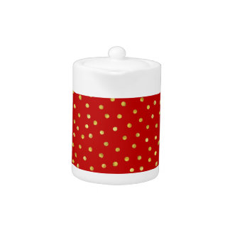 Elegant Red And Gold Foil Confetti Dots Pattern