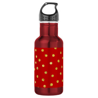 Elegant Red And Gold Foil Confetti Dots Pattern 532 Ml Water Bottle